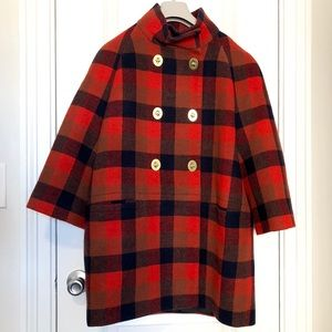 Coach Red Check Coat ADORABLE !
